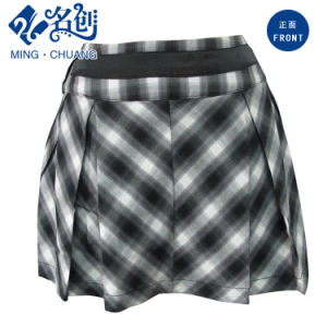 Gray Plaid Belt Pleated Ladies Sexy Miniskirt