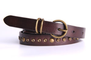 Brown Leather Belts for Fashion Accessories Pin Buckle Lady Waist Belt