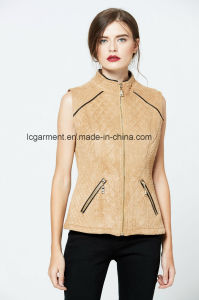 Popular Slim Fit OEM ODM Fashionable Zipper Women Leather Vest pictures & photos