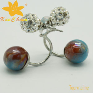 Tmer-004 Red Blue Color 10mm Tourmaline Fashion Earrings