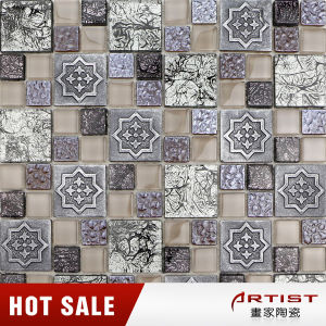 Elegant and Romantic Style Crystal Glass Mix Resin Mosaic