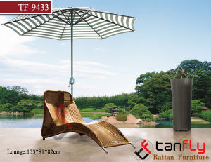 New Design Rattan Outdoor Poolside Chaise Lounger with Umbrella