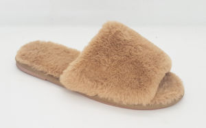 Women′s Fake Fur Slipper with TPR Sole
