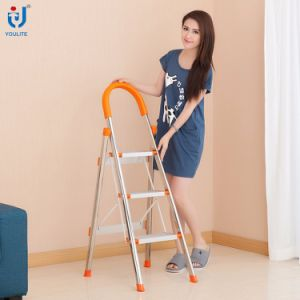 3 Step En131 Approved Multi-Purpose Home Use Folding Stainless Steel Ladder pictures & photos