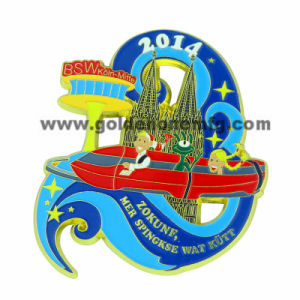 Gold Plating Metal Badge with Color Enamel pictures & photos