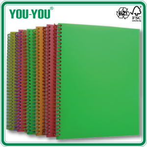 Plastic PP Single Spiral School Notebook A4, A5, A6 with PP Cover and Plastic Spiral