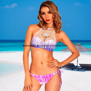 70a82064099 China 2017 Sexy Ladies Crochet Two-Piece Printed Bikini Swimwear ...
