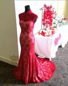 Delicate Red Evening Dress. Lace High Neck Evening Dress