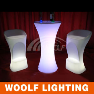 Rechargebale LED Cocktail Table, Club Bar Table with LED