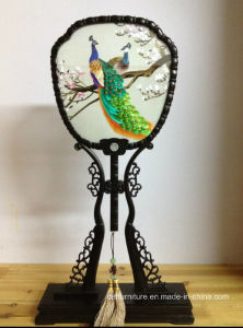 Handmade Fan Painting Craft Peacock Furnishing Table Screen Embroidery