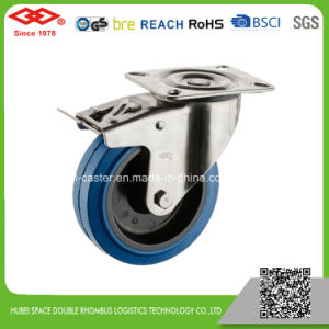 125mm Swivel Plate Blue Elastic Rubber Caster (P104-23DA125X36) pictures & photos