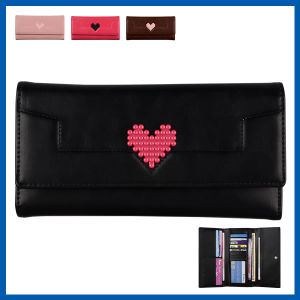 Womens Synthetic Leather Bifold Wallet Envelope Clutch Bag