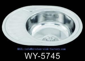 Wenying Factory Lithuania Hot Sale Round Bowl Stainless Steel Sink With  Drainboard Wy 5745