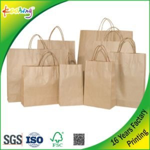 White & Brown Kraft Twist Handle Paper Takeaway Bag pictures & photos