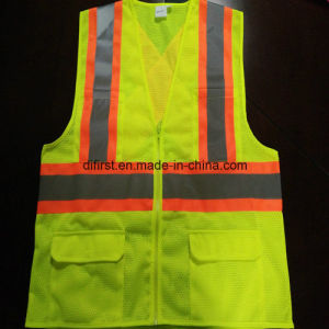 Safety Vest with Reflective Caution Band 100%Polyester Knitting Fabric and Mesh pictures & photos