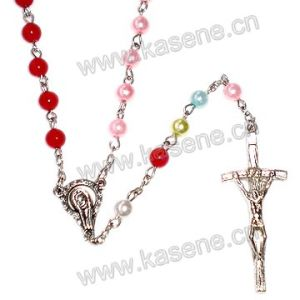Catholic Plastic Pearl Beads Saint Rosary, Jewelry Necklace