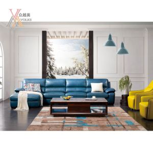 Blue Modern Living Room Leather Sofa with Corner (1623A)