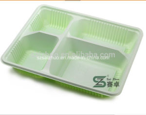 High-Grade 1500ml 4 Compartment Green Rectangle Disposable Japanese Lunch Box pictures & photos
