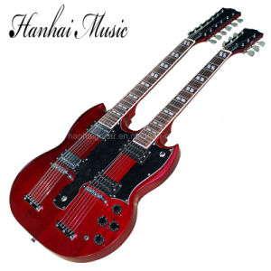 Hanhai Music/ 12 Strings+6 Strings 2-Neck Transparent Red Electric Guitar pictures & photos
