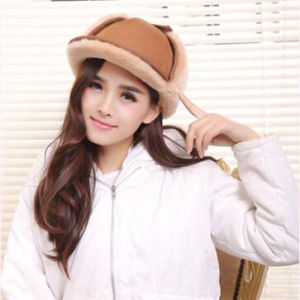 Women Winter Sheepskin Hat with Ear Flap