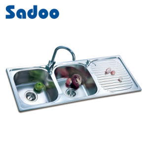 50/50 Stainless Steel Kitchen Sink with Drain Board SD-935 pictures & photos