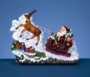 Santa on The Reindeer Sleigh with Rotation LED Lights (181-1009)