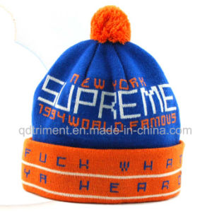 Popular Jacquard Striped Acrylic Cuff POM Knitted Beanie (TMK0189) pictures & photos