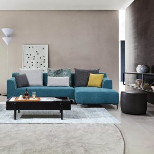 New Design Blue Small Size Fabric Corner Sofa for Living Room
