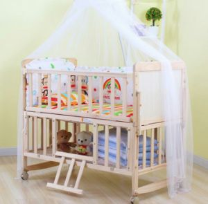 Natural Wooden Bed Baby Furniture Whole Net Cot