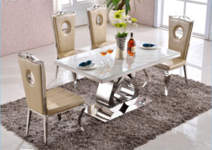 Designer Furniture Dining Table Set Wedding Decoration Stainless Steel Glass Top