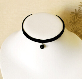 Black Velvet with Fashion Pendant Suede Choker (XJW13678)
