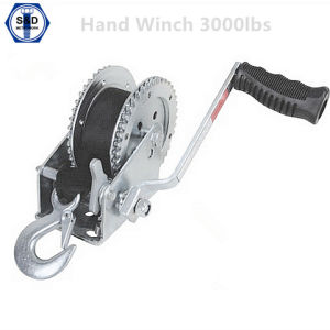 3000lbs Hand Winch Brake Winch with Cable Zinc Plated