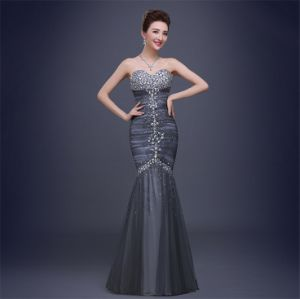 D1175 Luxury Strapless Mermaid Evening Dresses with Crystal Sequins pictures & photos