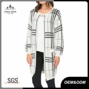 Plaid Womens Knit Long Cardigan Sweater Coat pictures & photos