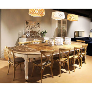 Large Wheels Oval Wood Dining Table