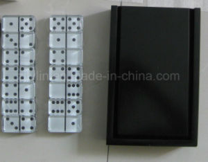 Double Six Glass Dominoes in Wooden Box