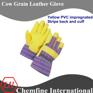 Yellow PVC Impregnated, Stripe Back and Cuff, Cow Grain Leather Work Gloves pictures & photos