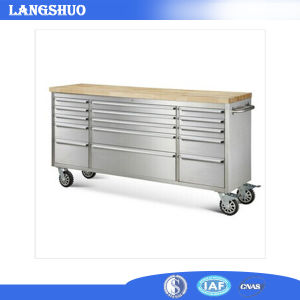 Hot Sell Stainless Steel Tool Chest with Top Wooden