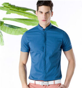 Men′s Blue Slim Fit Cotton Casual Shirt pictures & photos