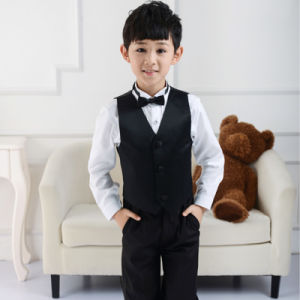 Black Pinstripe Boy Vest and Pant Formal Suit for Graduation pictures & photos