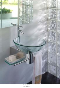 Clear Glass Wash Basin with Shelf