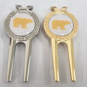 Gold/Silver Metal Divot Tool with Movable Ball Marker