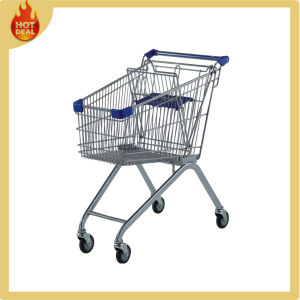 4 Wheels Steel Chrome Galvanized Supermarket Shopping Trolley pictures & photos
