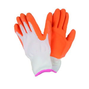 13G Nylon/Polyster Liner Glove with Latex Coated, Wrinkle Finished