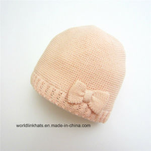 716677c9312 Custom Acrylic Bowknot Children′s Cap Kintted Woolen Kids Winter Caps