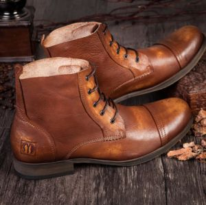 Classic Mens Pointed Toe Leather Ankle Dress Boots With Lacing
