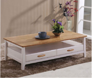 Modern Solid Wood Coffee Table with Two Drawers