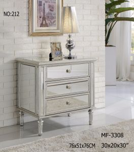 2017 3 Drawers Bedside Table with Clear Mirror pictures & photos