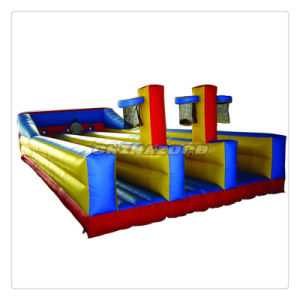 Hot Interactive Game Inflatable Bungee Run Combination of Basketball Hoop