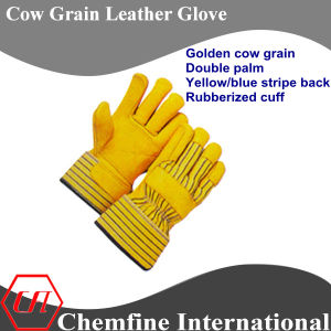 Golden Cow Grain Double Palm, Yellow/Blue Stripe Back, Rubberized Cuff Leather Work Gloves pictures & photos